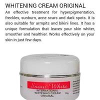 Hi, I'm selling ##SnowWhite Cream original Guarantee for all the products which selling . Snow White cream works effectively on your skin just few days of treatment spots, freckles ,Sunburn and other skin discolorations , it is also for armpit and bikini line. It has a unique formulation that leaves your skin whiter, smoother and healthier!