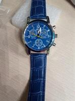Quartz Male Clock Men Fashion Faux Leather Analog Blue Watches men's watch