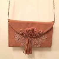 Used Velvet Floral Lace Clutch in Dubai, UAE
