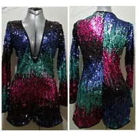New sexy sequin romper size M