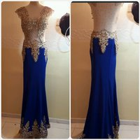 Golden blue lomg dress fashions elegant.