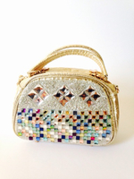 Gold fabric and color crystal ladies bag