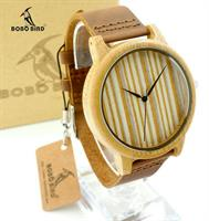 Bamboo Watch With Genuine Cowhide Leather Band Wooden Wristwatch