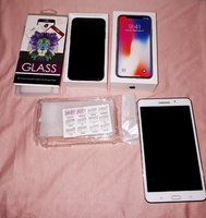 Used IPHONE X + 2 cases+2 glass covers+Tablet in Dubai, UAE