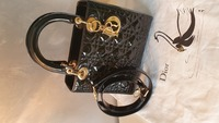 Used Lady Dior Handbag Authentic shiny black in Dubai, UAE