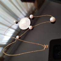 18k gold real gradual pearls necklace