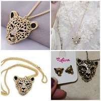 Used Cheeta face necklace and earing set in Dubai, UAE