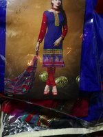 Chanderi dress material with chiffon dup