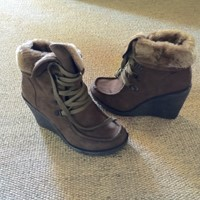 Used Wedge #Booties With #Comfy Fur Inside #winter in Dubai, UAE