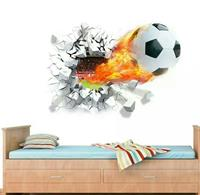 flying firing football wall sticker kids room decoration