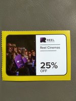 Used Reel Cinema 25% Off Voucher good for 6 in Dubai, UAE