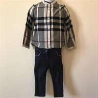 Authentic Burberry Blouse And Jeans Set 18month Old.