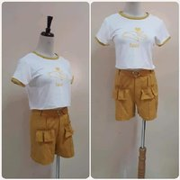 Used Crop top with fashionable short- small in Dubai, UAE