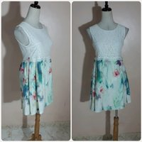 Casual wear dress white mix colors