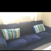 3-seater Sofa With Navy Blue Covers.
