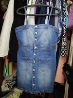 Used New short denim dress M - L size in Dubai, UAE