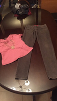 "High waist girls jeans 28""waist &top 2pc"