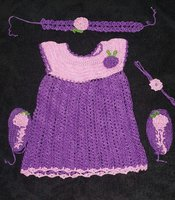 Baby frock crochet with accessories