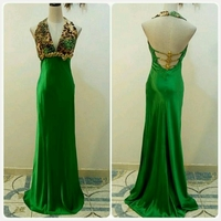 Used Beautiful Shiny Green Long Dress in Dubai, UAE