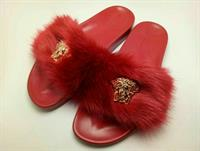 Versace FUR FLAT SLIPPERS for Ladies
