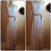 White long dress with biege belt