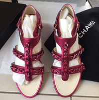 Brand New Chanel Chain Sandal Metallic Fuchsia Pink With Inclusion