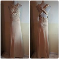 Used Biege long dress slimfit dress brand new in Dubai, UAE