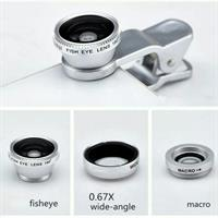 Universal 3in1 Clip Fish Eye Lens Wide Angle Macro Mobile Phone Lens For iPhone 5 6 6 Plus 7
