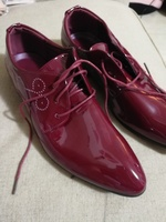 Used Shiny leather maroon color shoes size 41 in Dubai, UAE