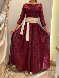 Used Red Dress with Beige Belt in Dubai, UAE