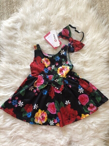Used Baby girl dress & headband size 6-12 M in Dubai, UAE
