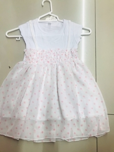 Used White/polka dots Kids Dress size 1-2 yr  in Dubai, UAE