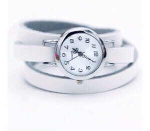 Used women watch with white leather band in Dubai, UAE