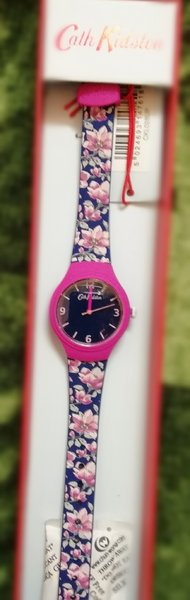 Cath Kidston watch navy blue flower strp