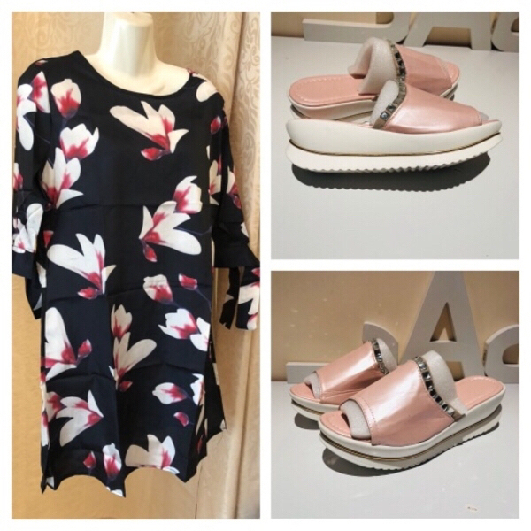 Used Floral top size L plus pink slippers 40 in Dubai, UAE
