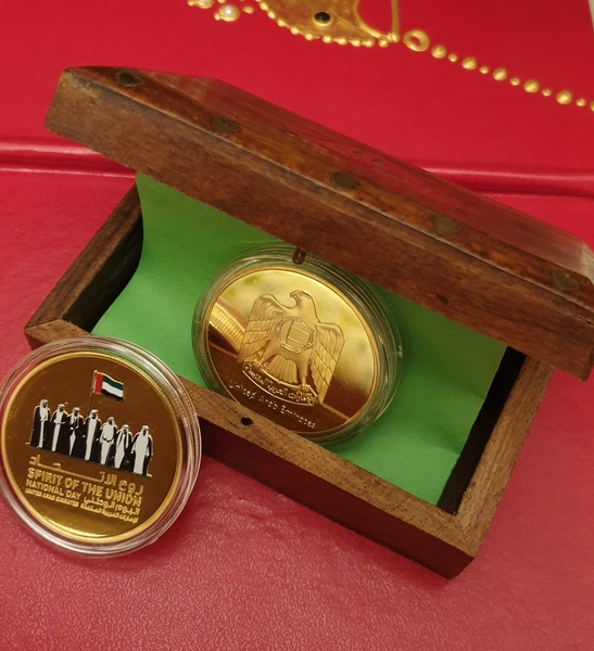 Used Uae coin goldor silver plated woodenbox in Dubai, UAE