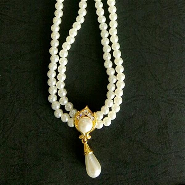 Used 18 K Gold Plated Duel Pearl Chain Necklace Set in Dubai, UAE