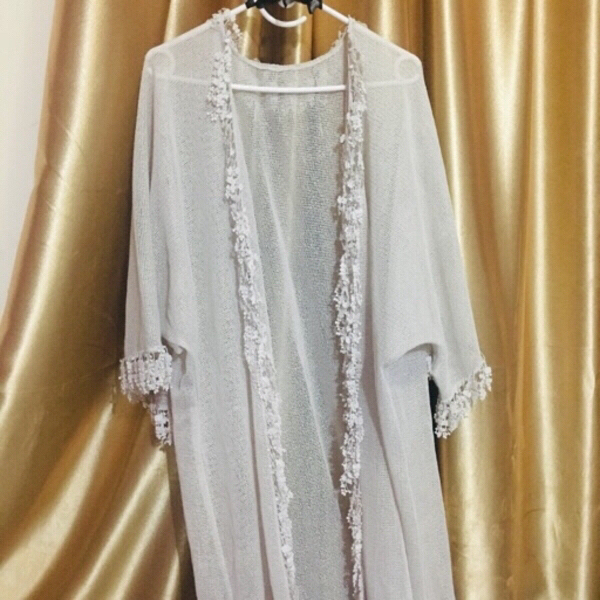 Used Off white mesh Abaya/ kimono coverup in Dubai, UAE