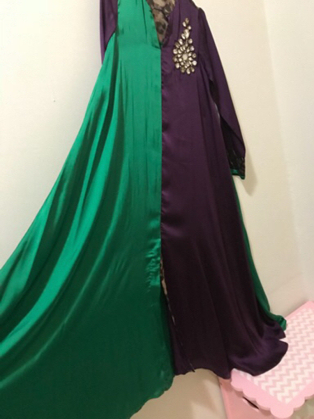 Brand New #Full Length Dress With Stone Work. Free Size. From Small To XL. Good Quality Fabric And Stones On It. In Purple & Emerald Green Color.