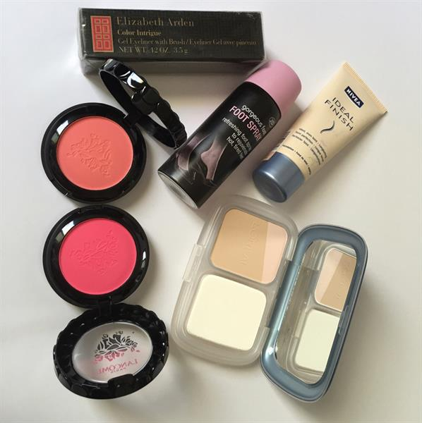 Used Mixed Brands Cosmetics Loreal Pearl Finish Powder Foundation Lancôme Blush Ons Nivea Liquid Foundation Boots Spray For Tired Feet Elizabeth Arden Brown Gel Eye Liner Waterproof All Brand New Cosmetics Available For Delivery in Dubai, UAE