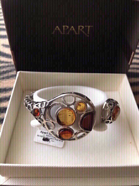 "Used Amber ""APART"" Bracelet+brooch 925 set in Dubai, UAE"