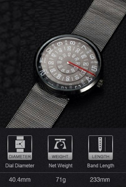 Rotating Dial Quality Mesh Steel Watch
