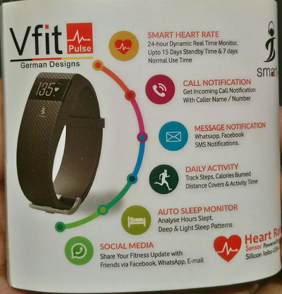 Vfit Pulse Smart Band.Black Color. Msg,Call,Social Media Notifications Heart Rate,Activity