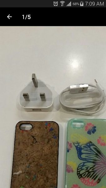 Used Iphone 5/5s Cover & Charger in Dubai, UAE