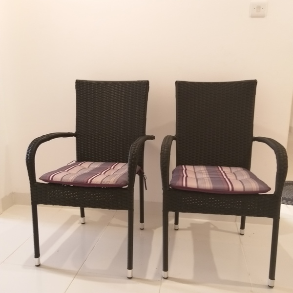 Used Cane chairs with cushions in Dubai, UAE