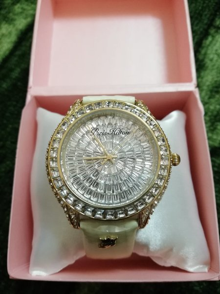 Used Paris Hilton watch beige strap in Dubai, UAE