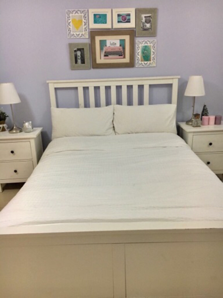 Used Bed with side chest drawers in Dubai, UAE