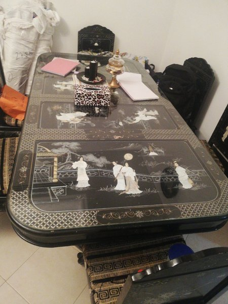 Used Dining Table with 8 chairs in Dubai, UAE