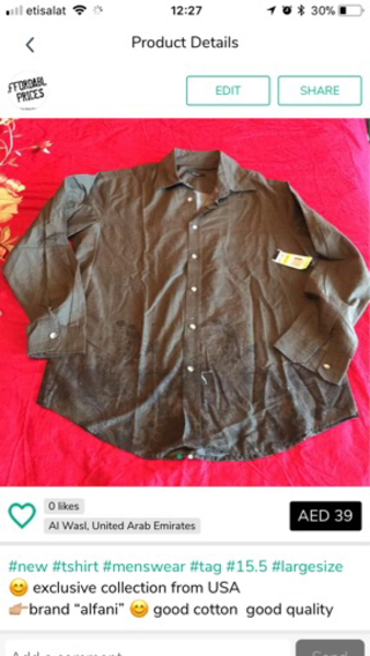 Used Men's shirt collar size 15.5cm  in Dubai, UAE