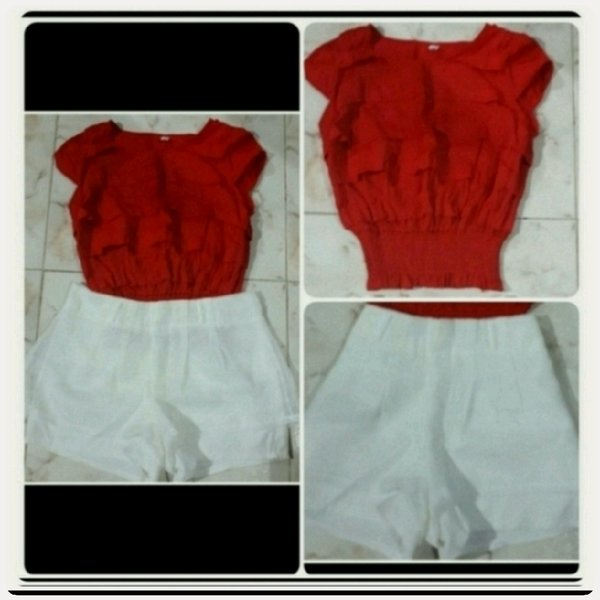 Used Red top with white short fashionable in Dubai, UAE